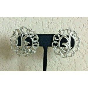 Sara Coventry Silver Swirl Clip On Button Earrings